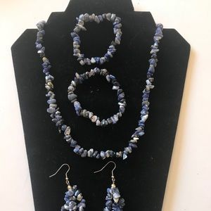 "20"" Natural Lapis Lazuli Chipped Necklace Set"